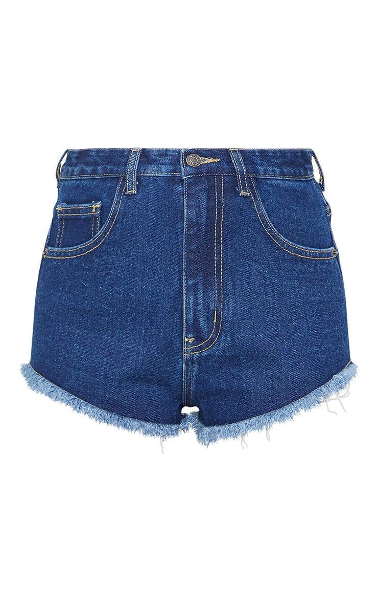 Petite Dark Blue Wash Frayed Hem Denim Shorts 6