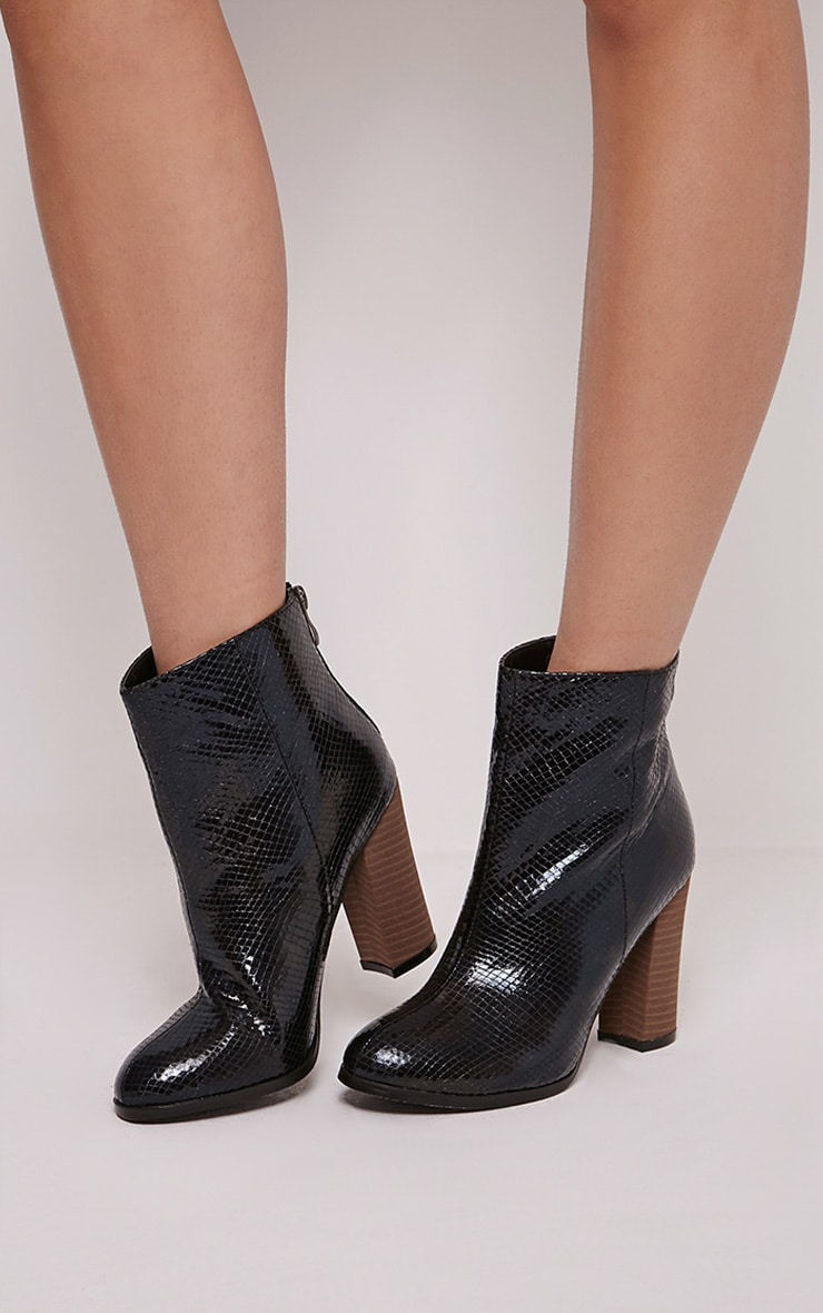 Becci Black Snakeprint Ankle Boots 1