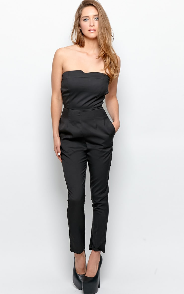 Tia Black Strapless Jumpsuit With Reverse White Bow Detail 4
