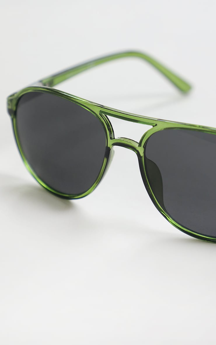 Green Double Bar Round Frame Sunglasses 3