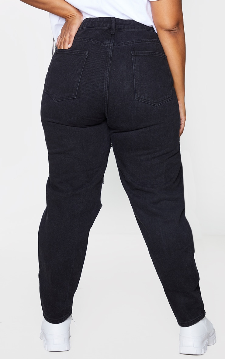 PRETTYLITTLETHING Plus Washed Black Open Thigh Mom Jeans 3