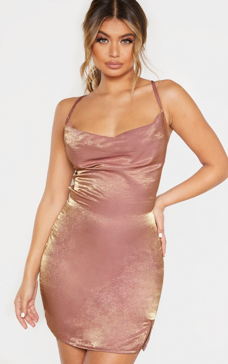 Pink Metallic Cowl Strappy Back Bodycon Dress 1