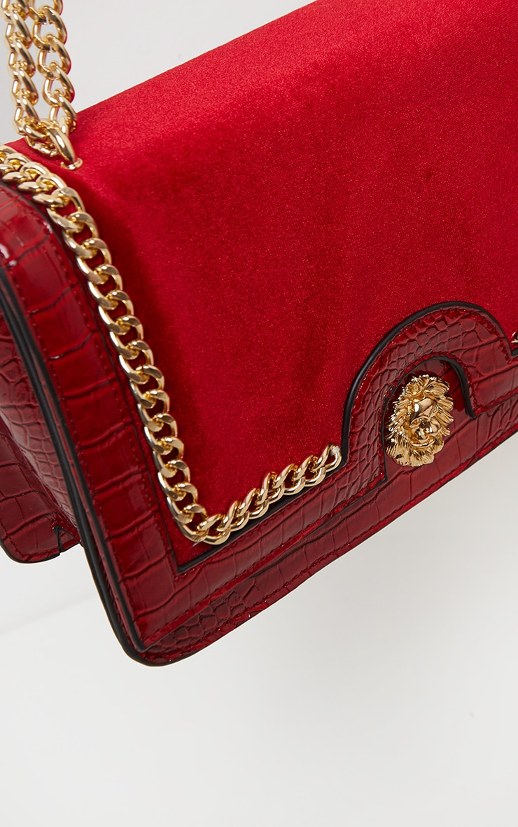 Scarlet Patent And Velvet Contrast Lion Head Cross Body Bag 3
