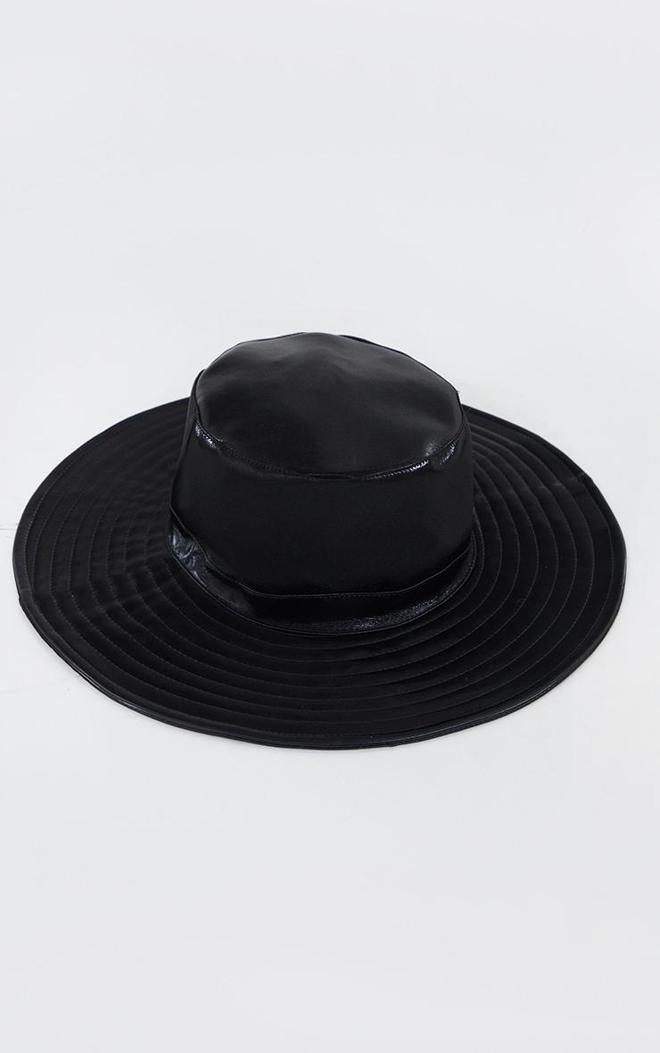 Black Oversized Vinyl Bucket Hat 1