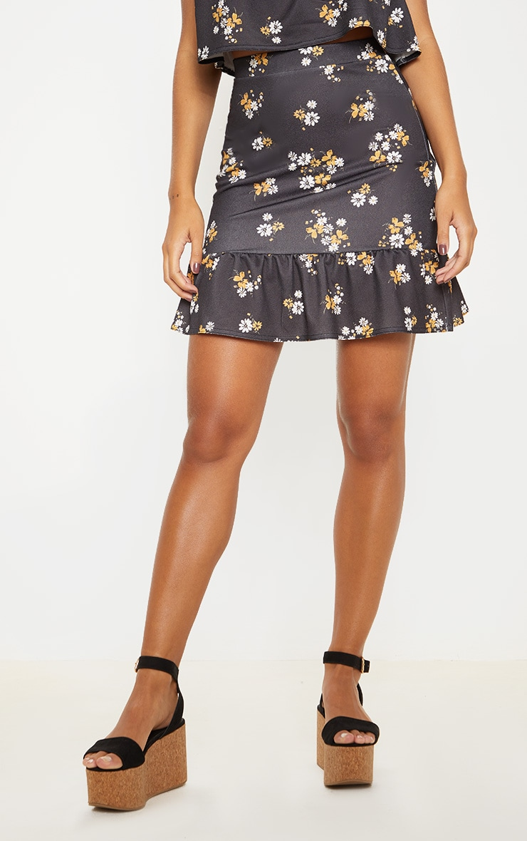 Black Floral Frill Hem Skirt 2