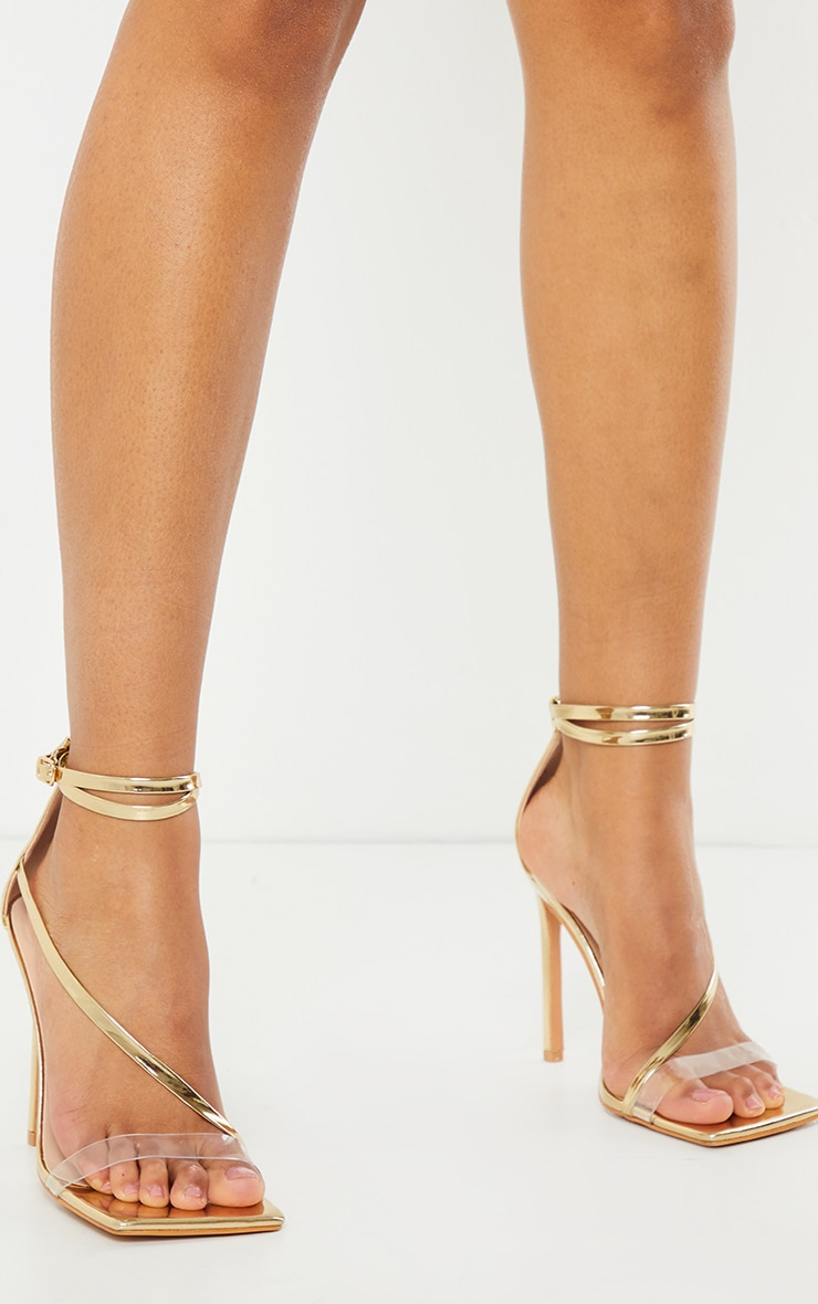 Gold Wide Fit Square Toe Asymmetric Strap Sandal 2