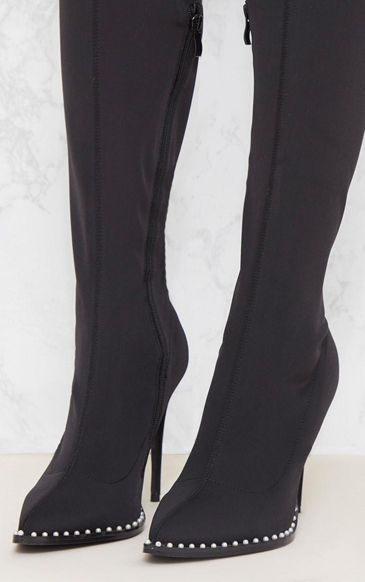 Black Neoprene Pearl Embellished Thigh High Boot 5
