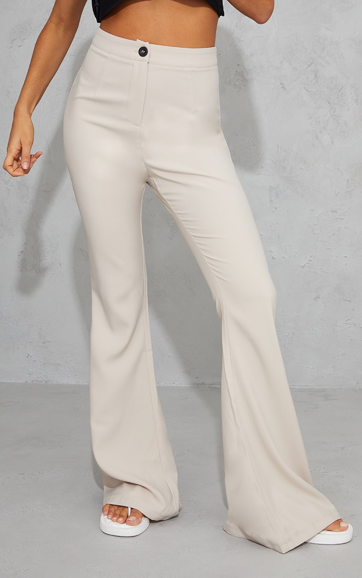 Stone Woven Flared Trousers 2