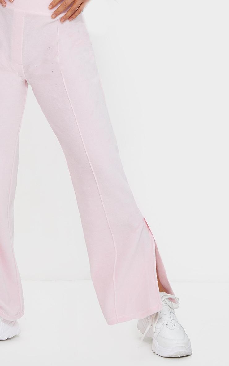 Petite Baby Pink Velour Seam Detail Wide Leg Joggers 4