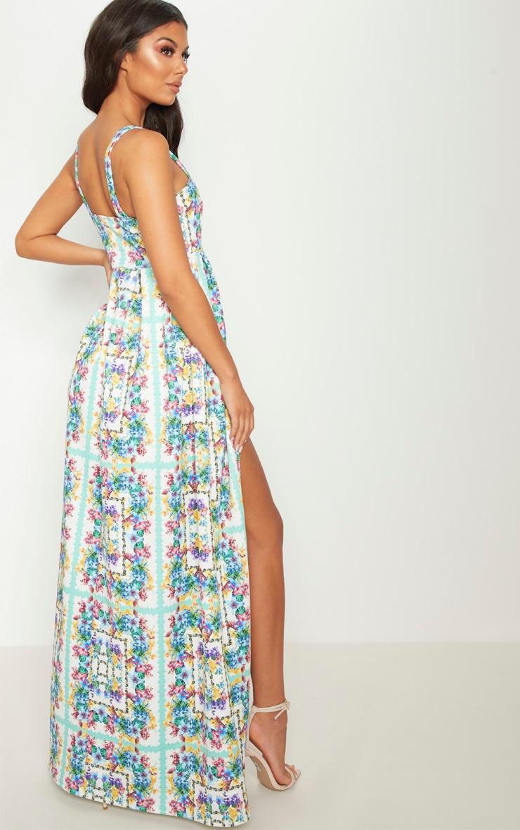 White Tropical Floral Tile Print Split Detail Maxi Dress Pretty Little Thing Comfortable A576p