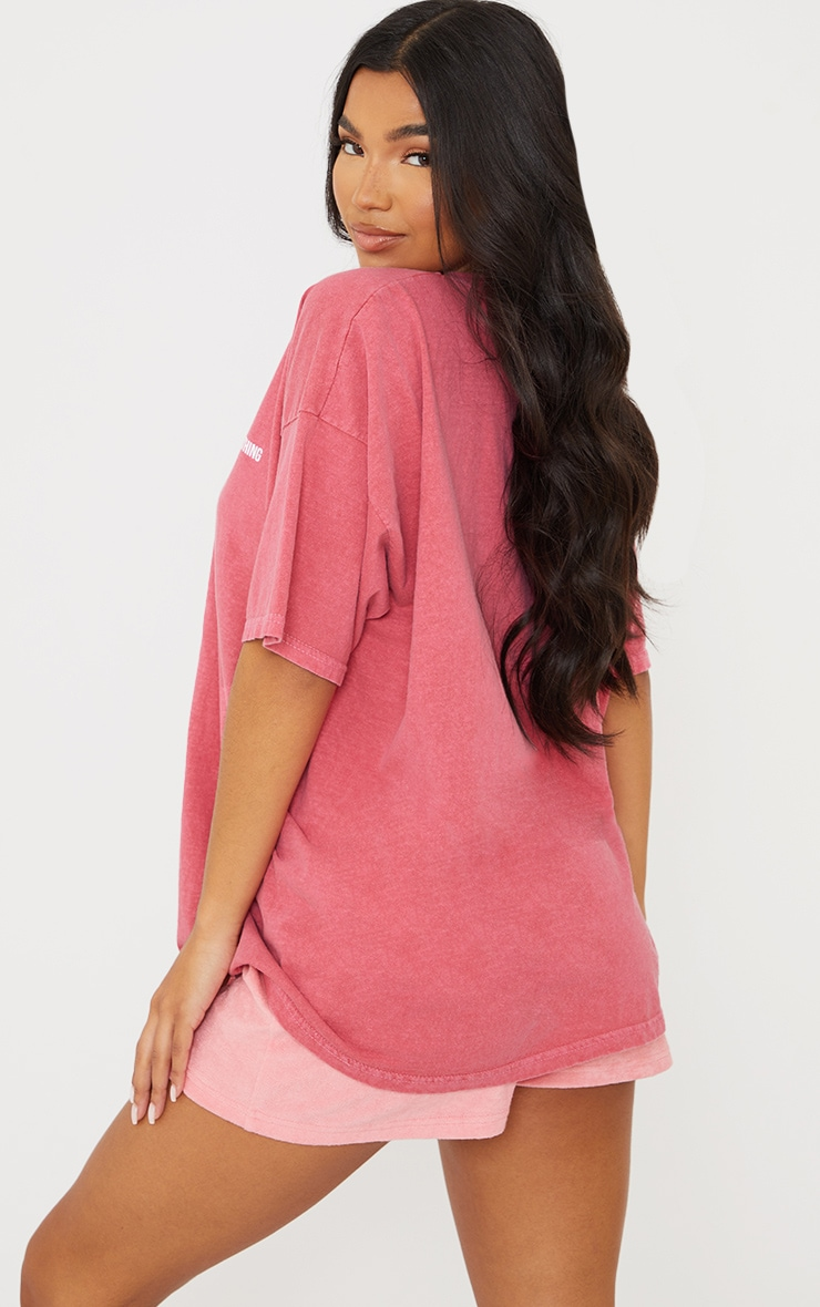 PRETTYLITTLETHING Red Block Text Washed T Shirt 2