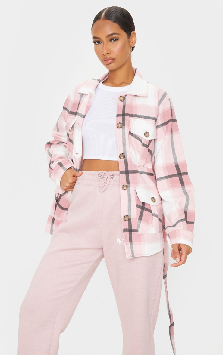 Pink Checked Belted Dipped Hem Shacket 1