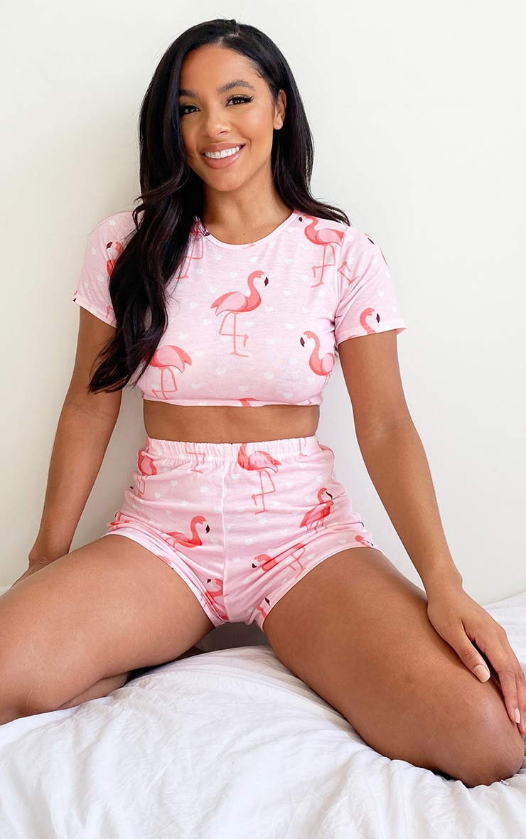 Pink Flamingo Print Shorts Pj Set 1
