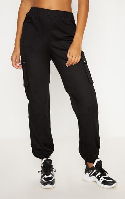 Black Pocket Detail Cargo Trousers