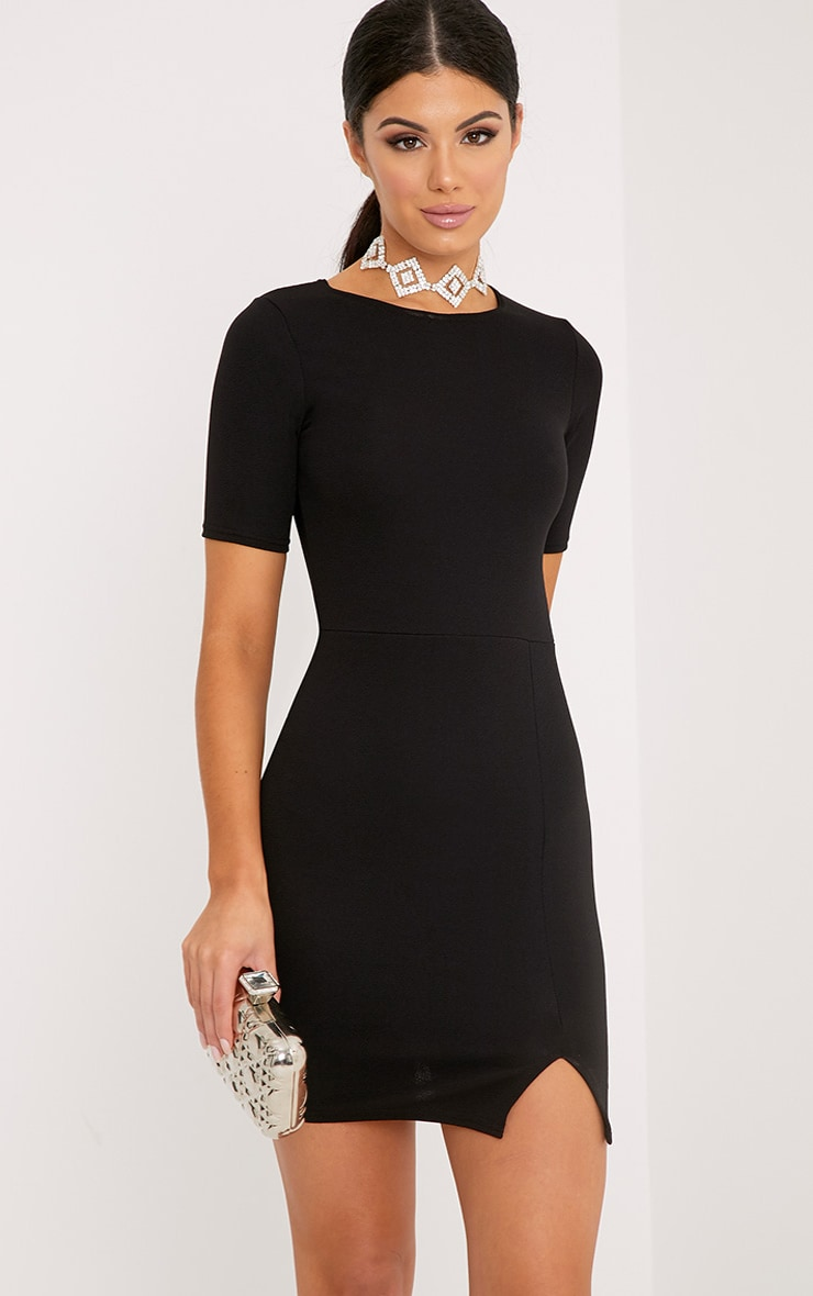 Freya Black Split Detail Capped Sleeve Bodycon Dress 1