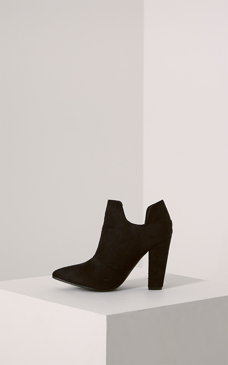 Destry Black Faux Suede Heeled Ankle Boots 4