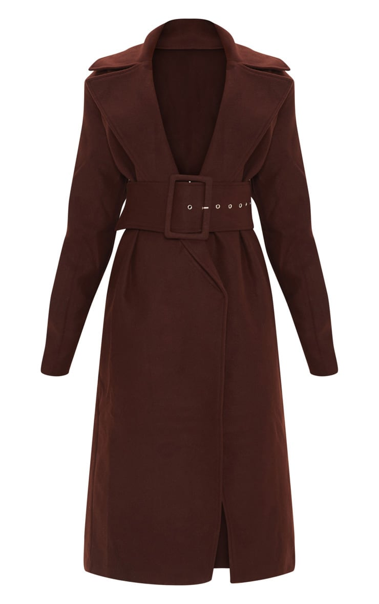 Petite Chocolate Brown Belted Coat 3