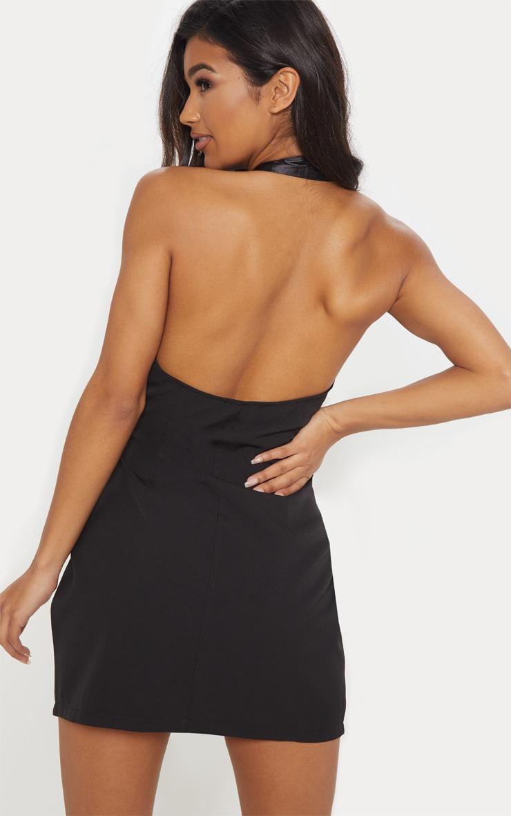 Black Satin Lapel Halterneck Blazer Dress 2