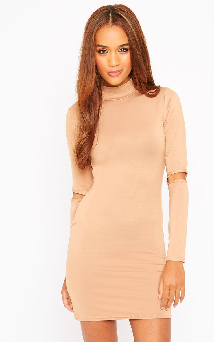 Basic Camel Slit Elbow Mini Dress 4