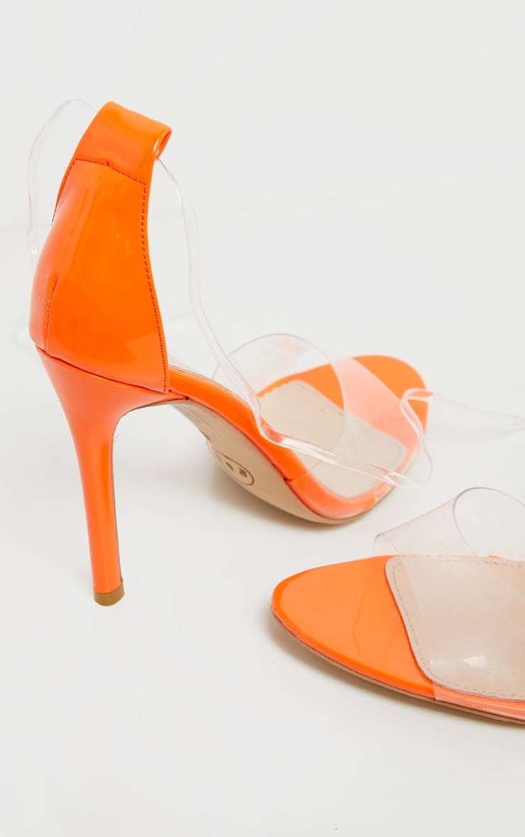 Neon Orange Clear Leg Tie Heeled Sandal 3