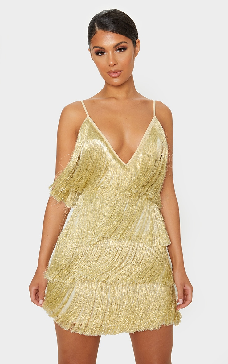 Gold Tassel Fringed Strappy Bodycon Dress 1
