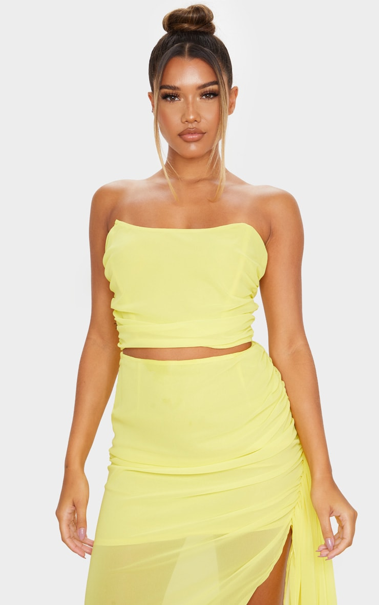 Yellow Woven Structured Curved Crop Top 1