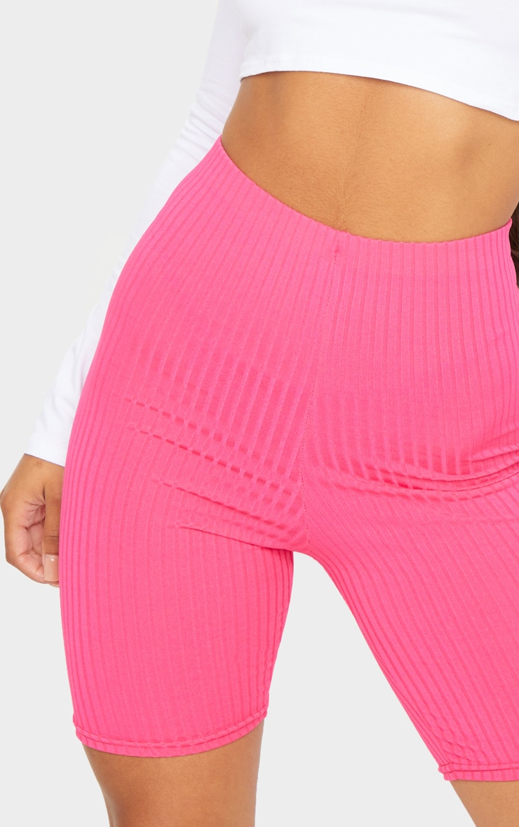 Hot Pink Ribbed Bike Shorts 5