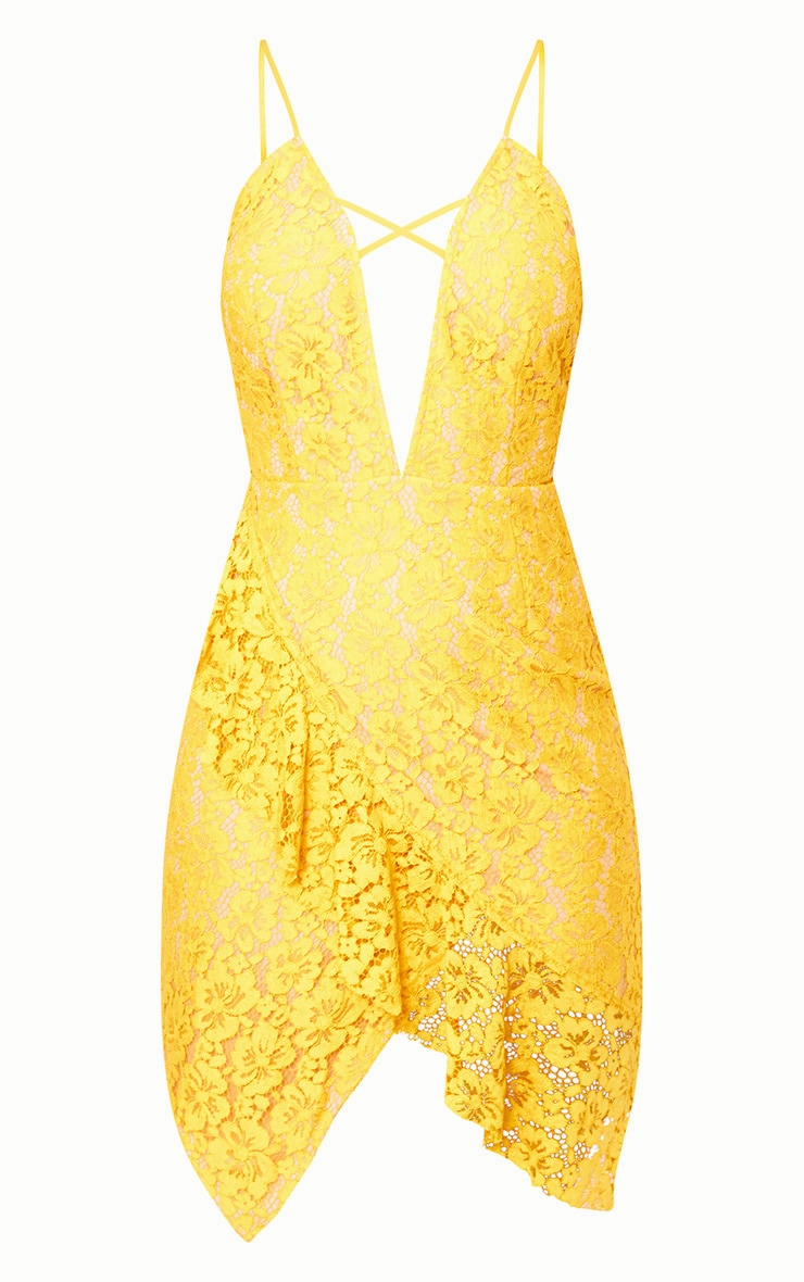 Yellow Lace Strappy Frill Detail Bodycon Dress 3