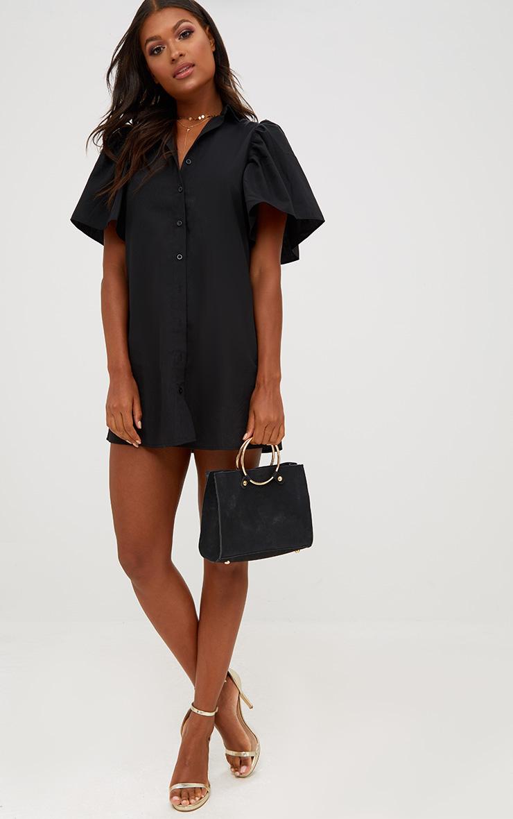 Black Flared Short Sleeve Shirt Dress 1