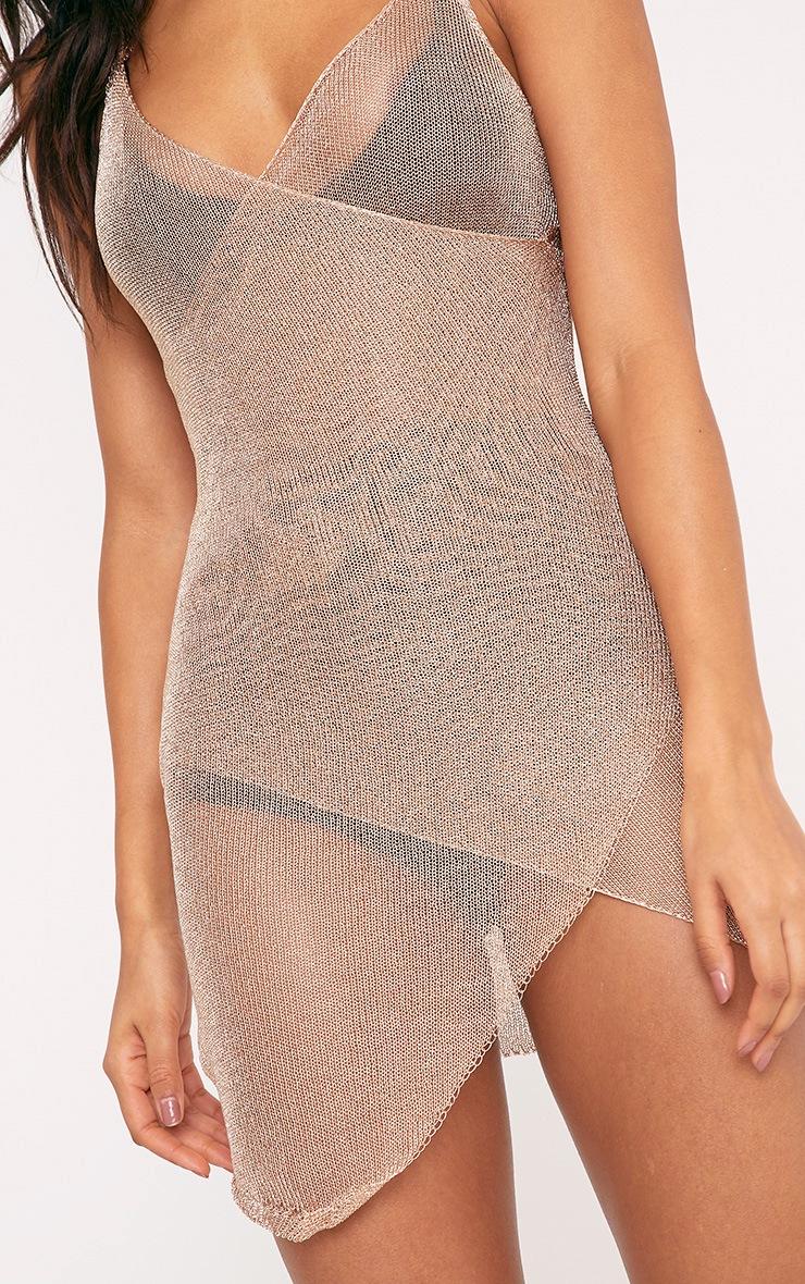 Yazminda Gold Wrap Knitted Metallic Mini Dress 5