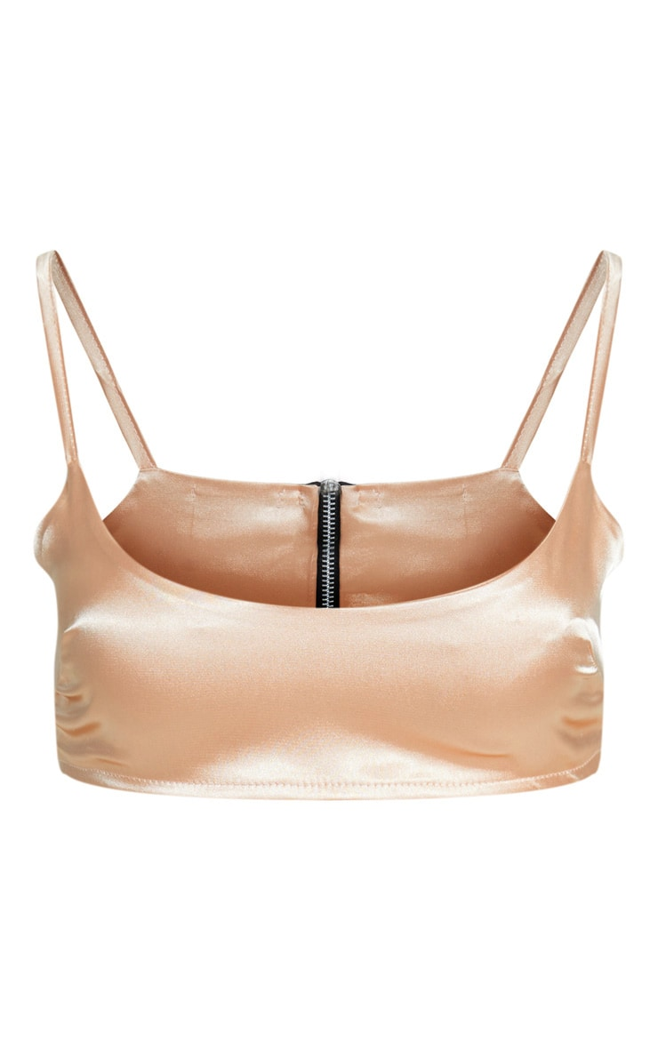 Peach Satin Scoop Neck Crop Top 3