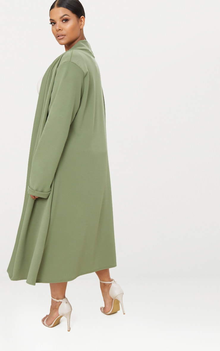 Plus Khaki Crepe Maxi Duster Jacket 2