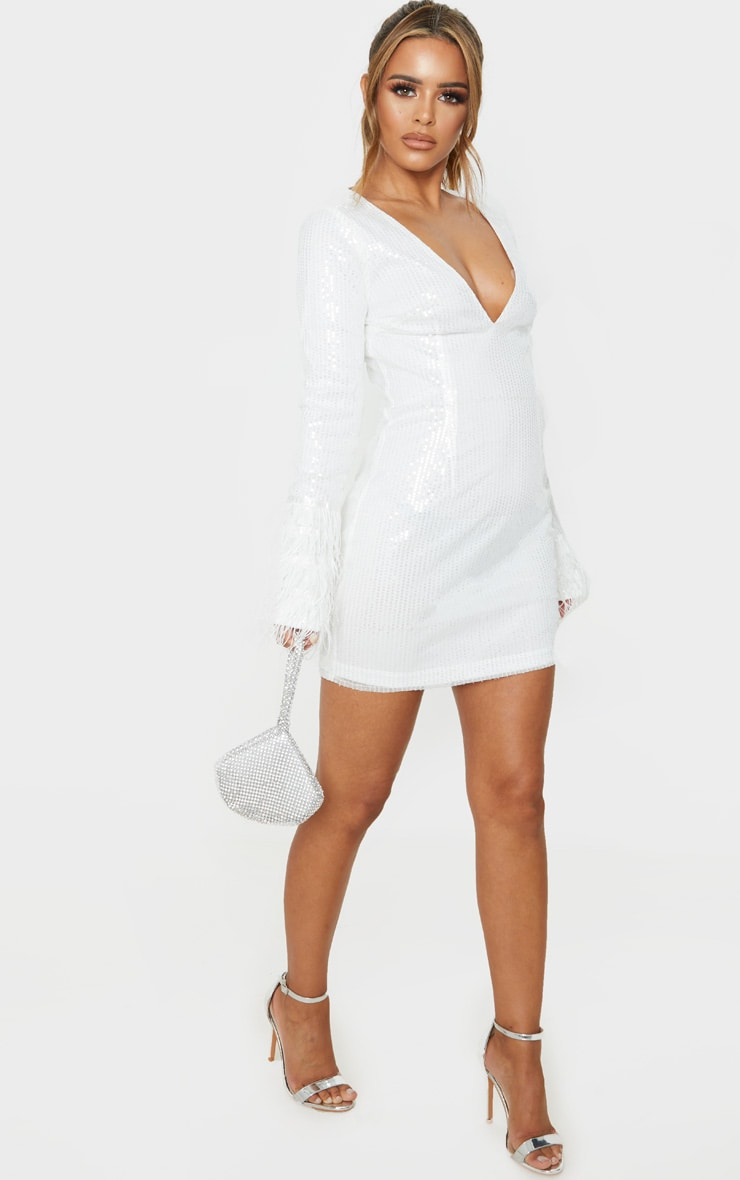 Petite White Plunge Sequin Feather Sleeve Mini Dress 4