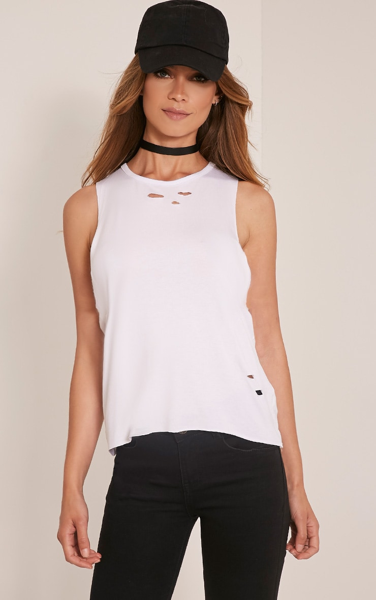 Ember White Ripped Drop Armhole T-Shirt 1