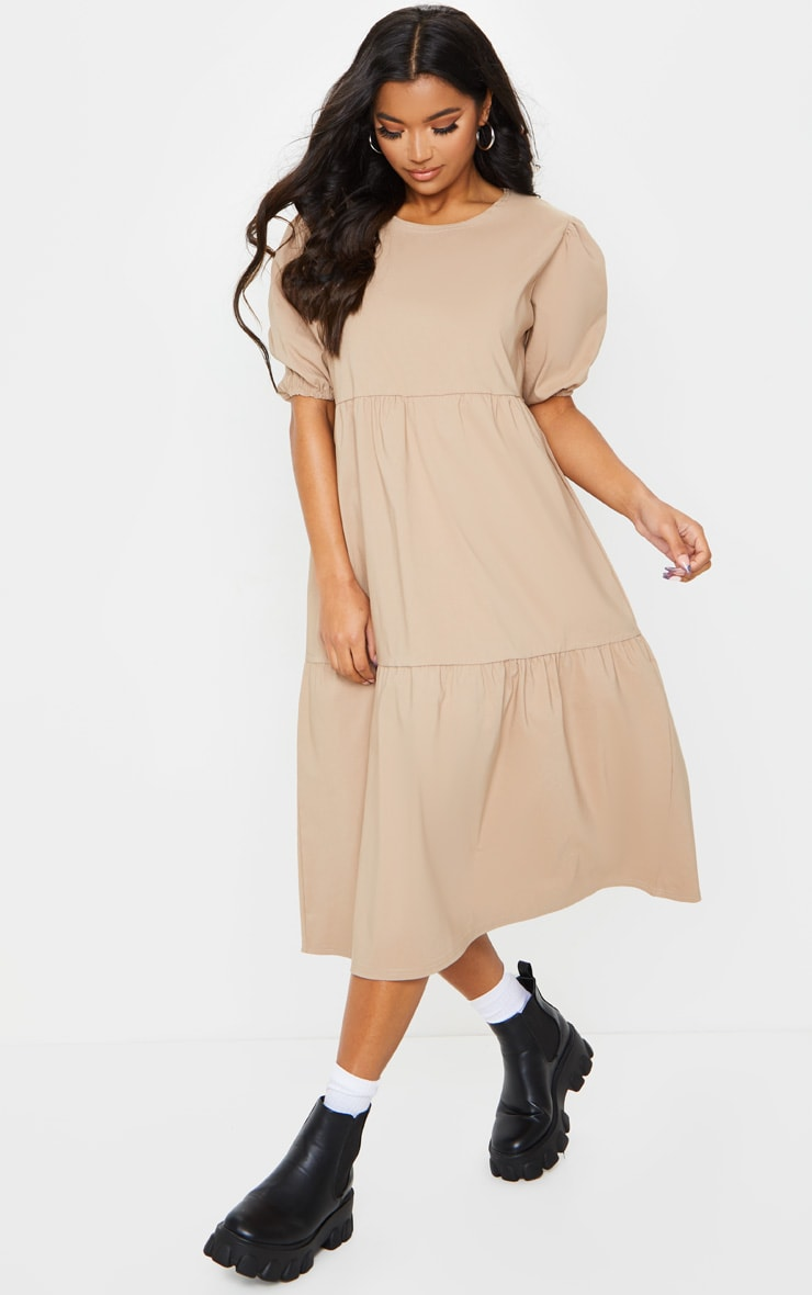 Camel Puff Sleeve Tiered Midi Smock Dress 1