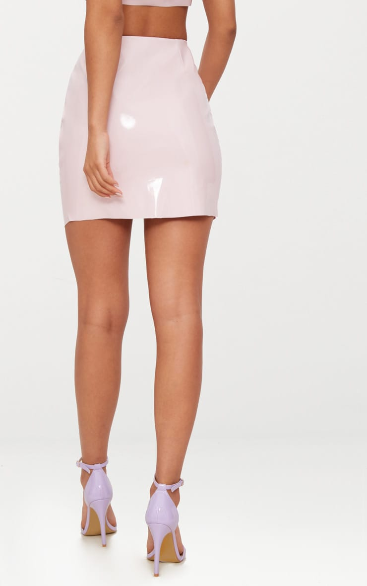 Pale Pink Zip Front Vinyl Mini Skirt 4