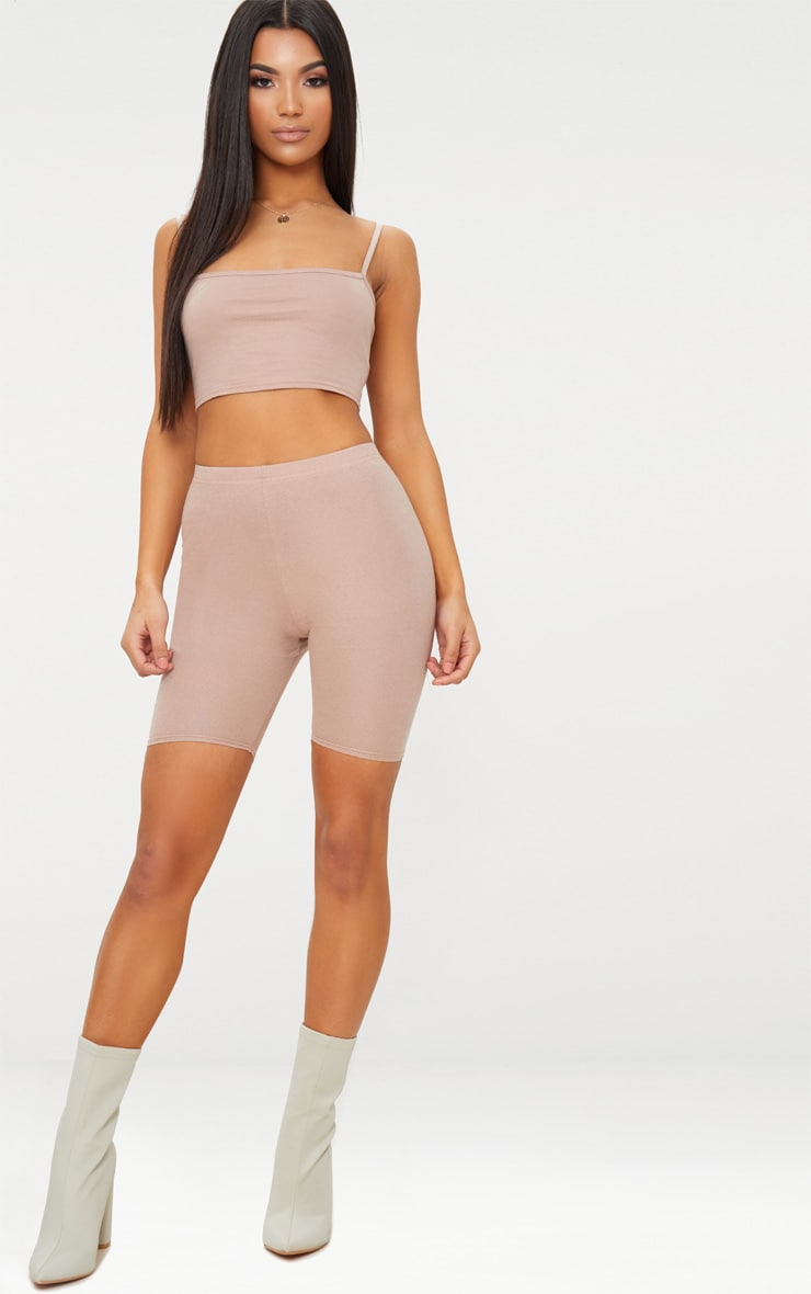 Taupe Jersey Square Neck Crop Top 4