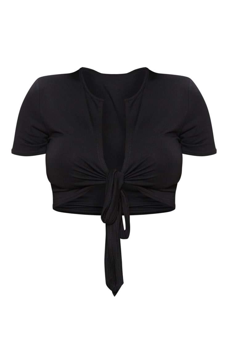 Shape Black Jersey Tie Front Crop Top 3