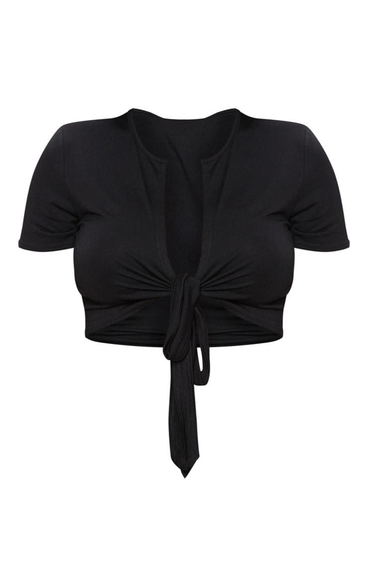 Shape - Crop top en jersey noir à nouer 3