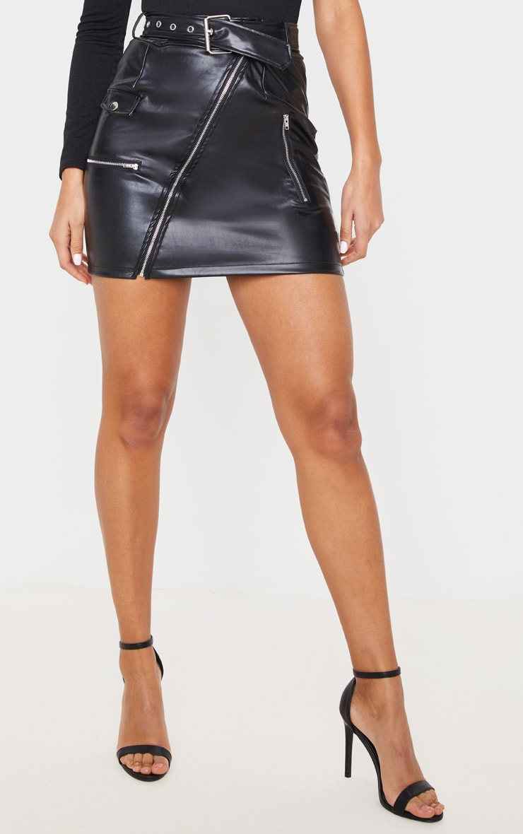 Minijupe à ceinture biker noire 2