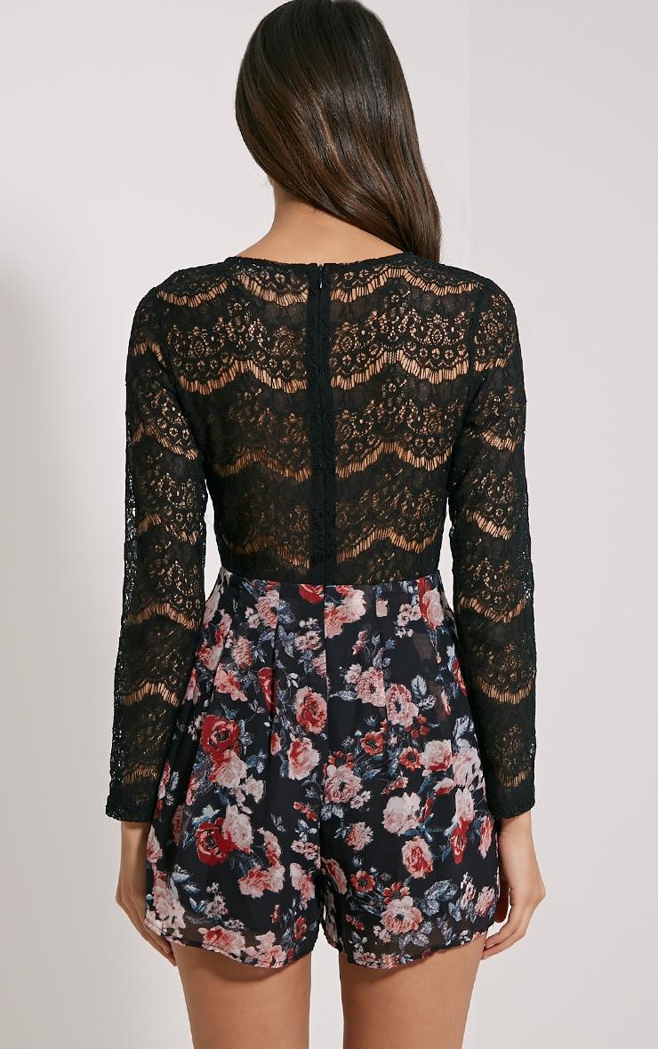 Adela Black Floral Lace Playsuit 2