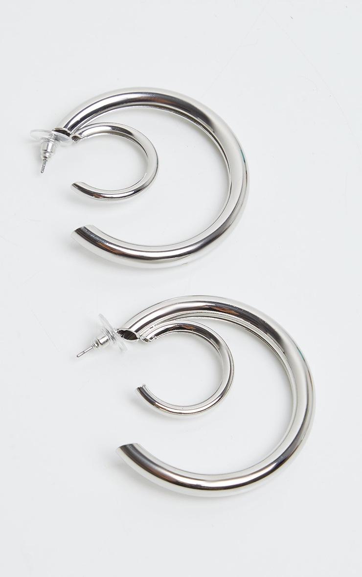 Silver Double Chunky Tubular Earrings 2