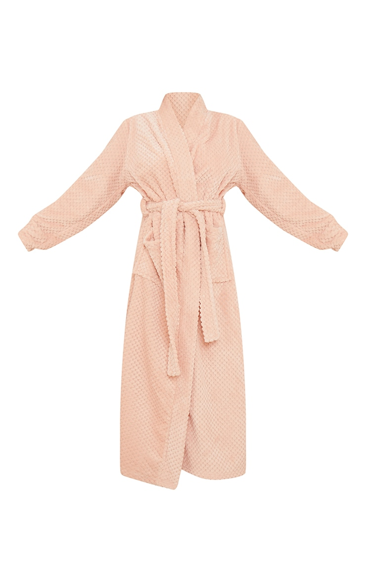 Pink Textured Fluffy Longline Dressing Gown 5