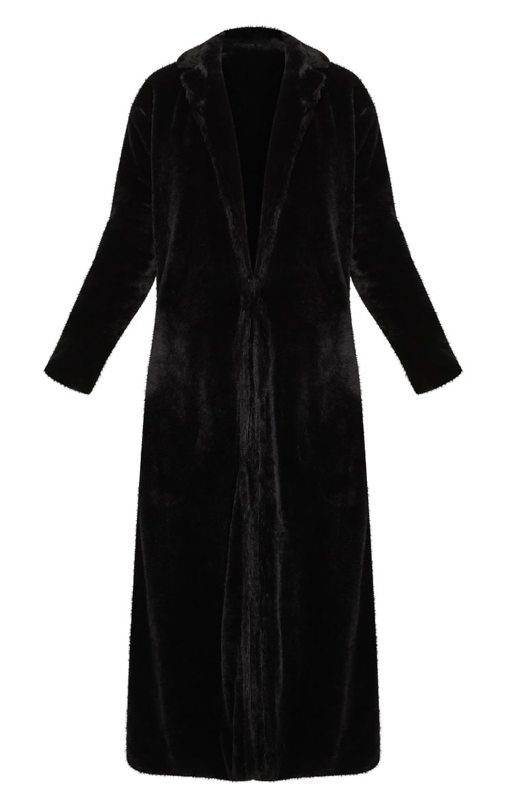 Black Longline Faux Fur Coat 3