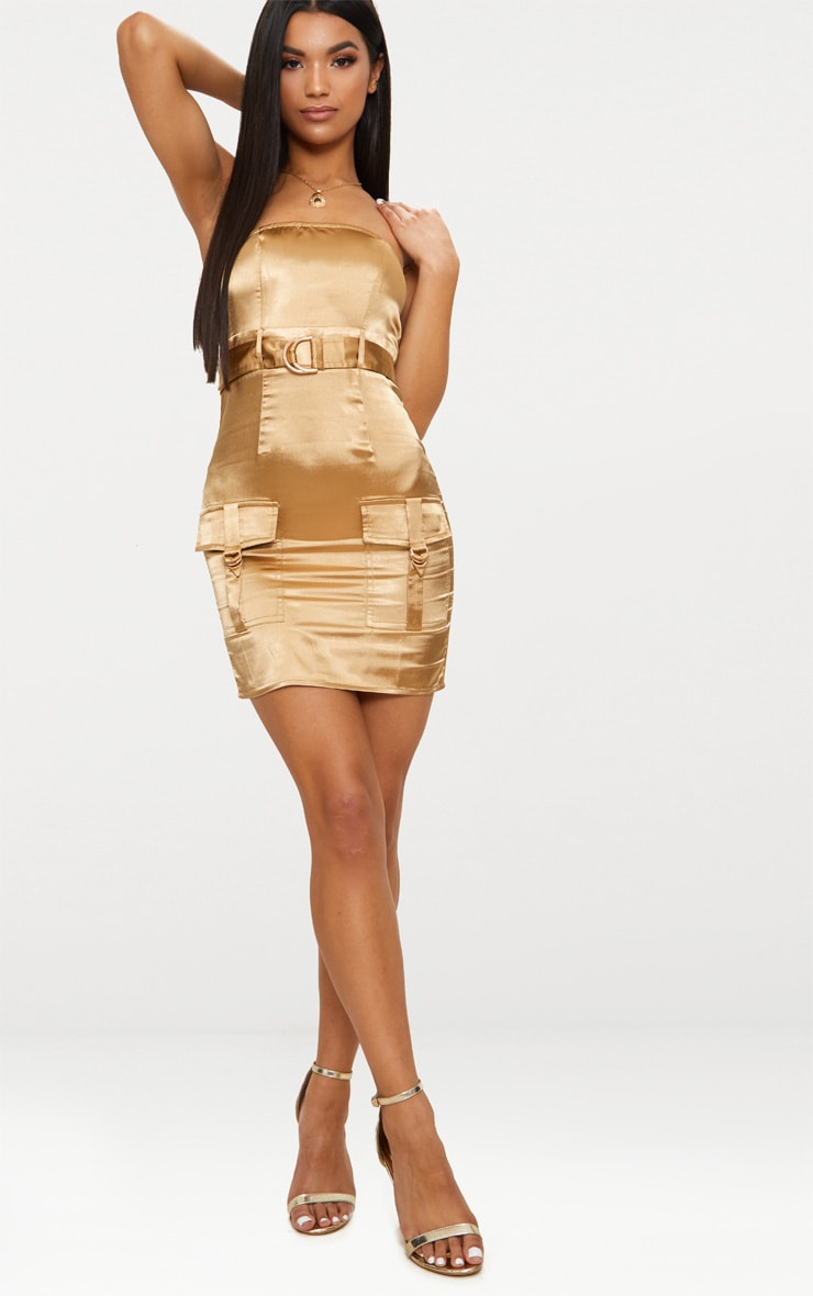 Camel Satin Utility Bandeau Bodycon Dress 4