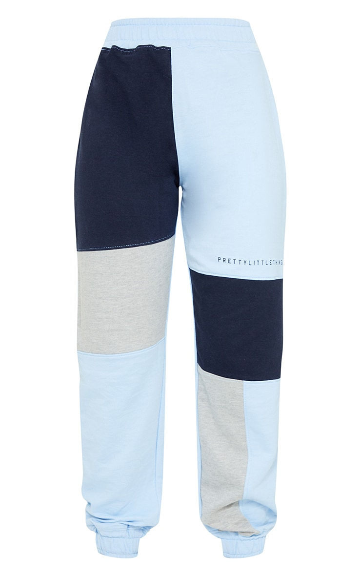 PRETTYLITTLETHING Baby Blue Colourblock Detail Casual Joggers 5