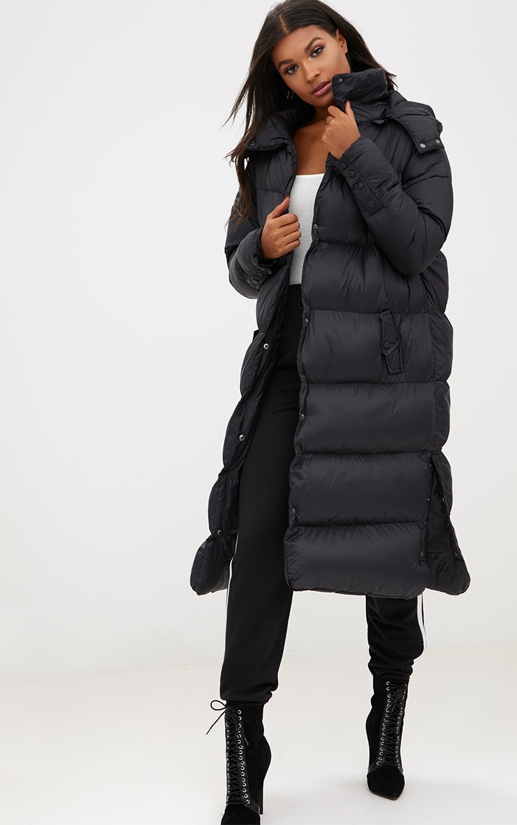 Black Oversized Longline Puffer Jacket with Hood 4