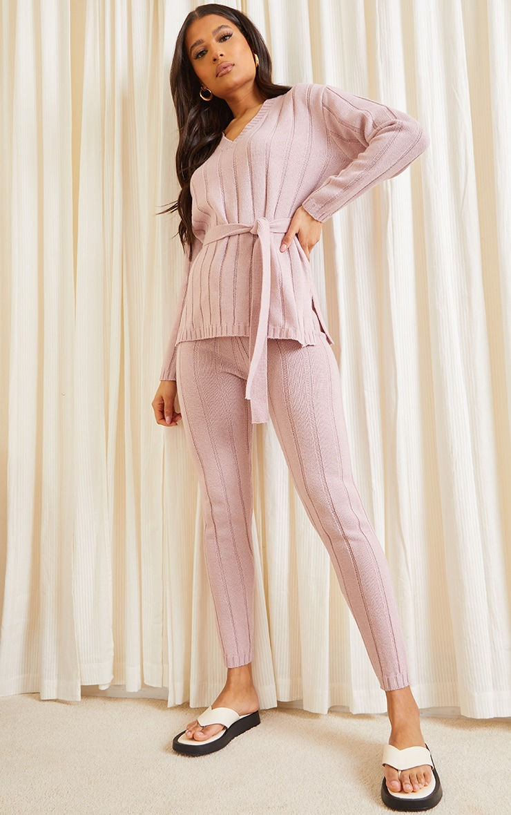 Rose Belted Longline Jumper And Legging Lounge Set 1