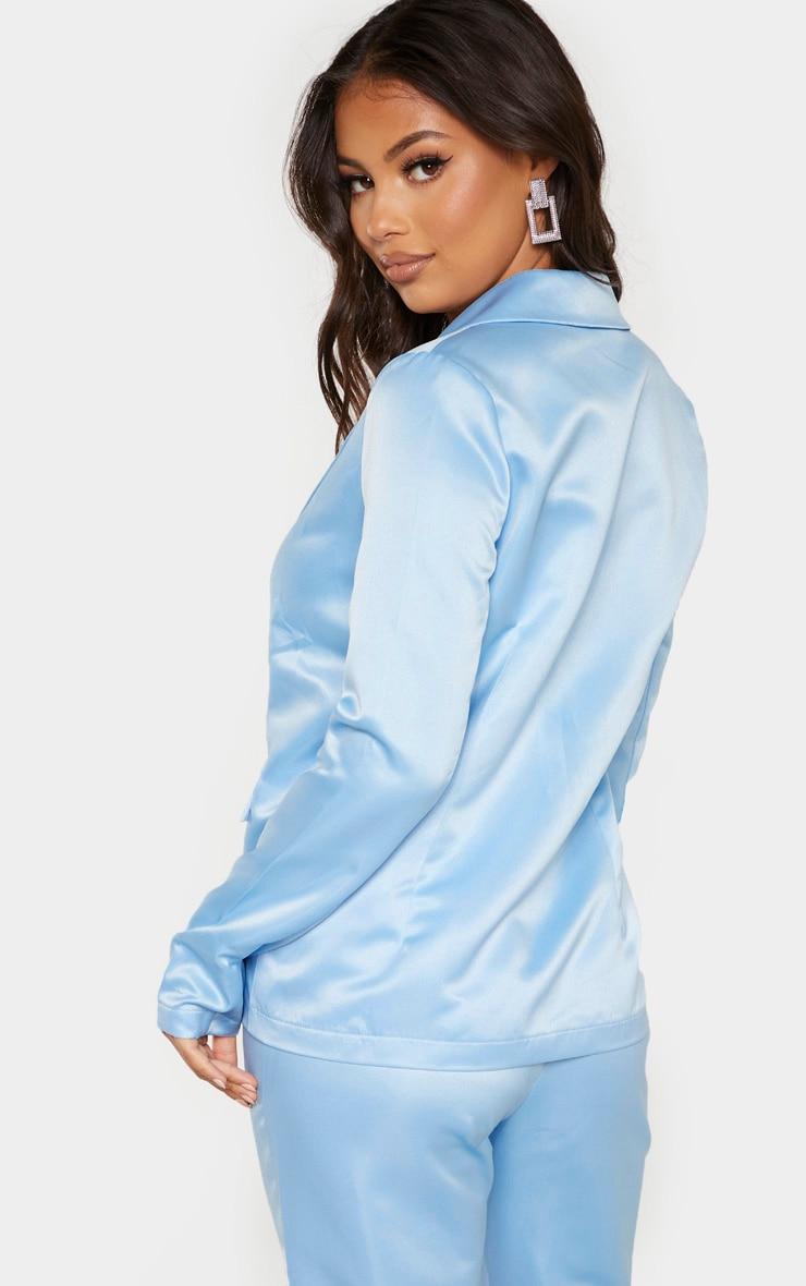 Petite - Blazer bleu cendré oversize à boutonner  2