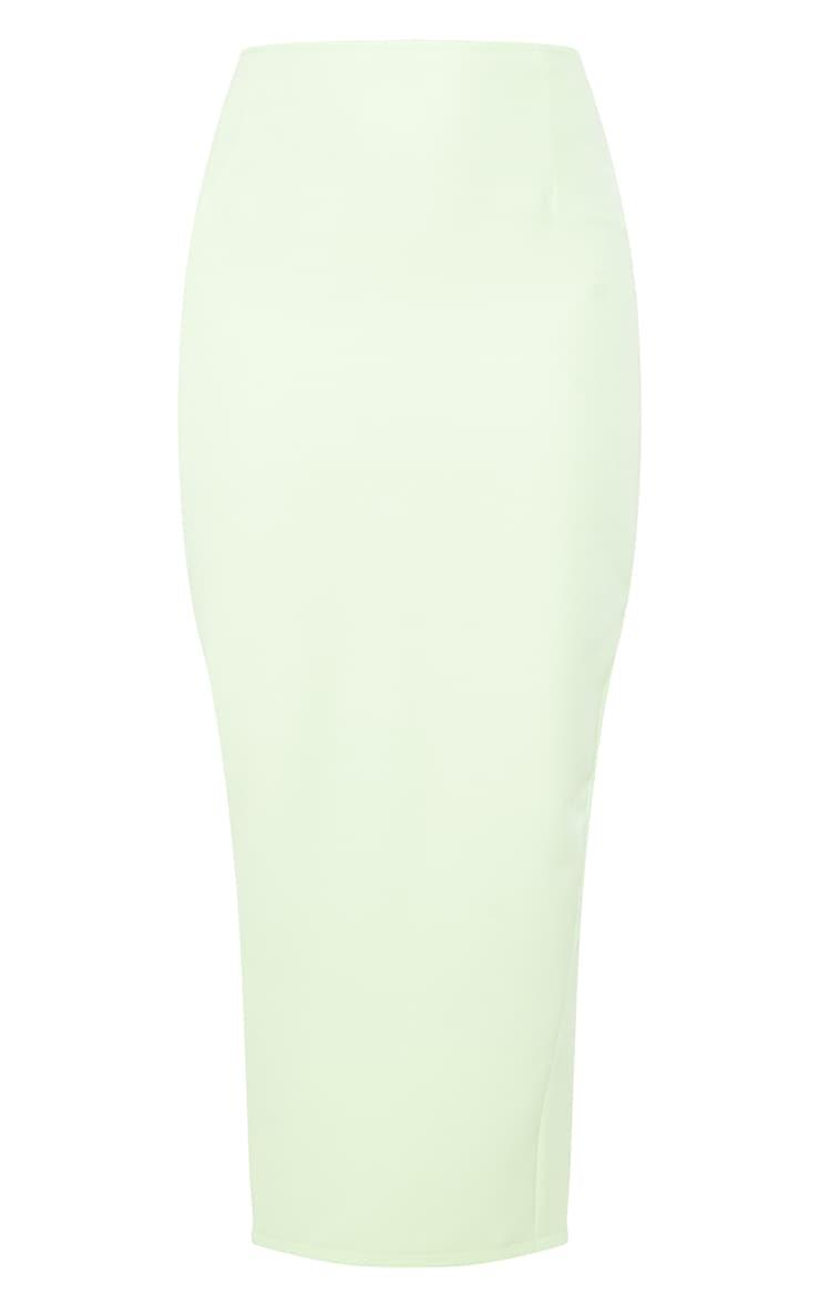 Lime Woven Split Back Maxi Skirt 5